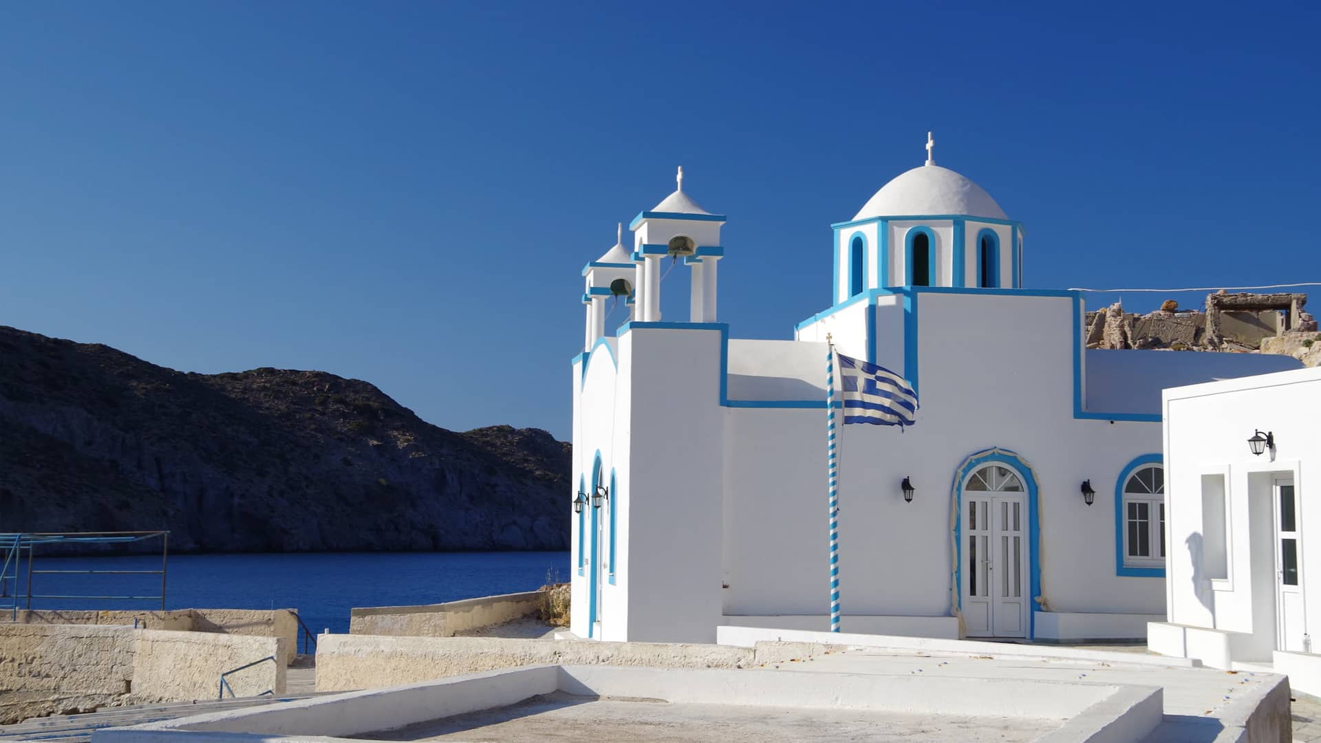 Picturesque landscape and church in Milos