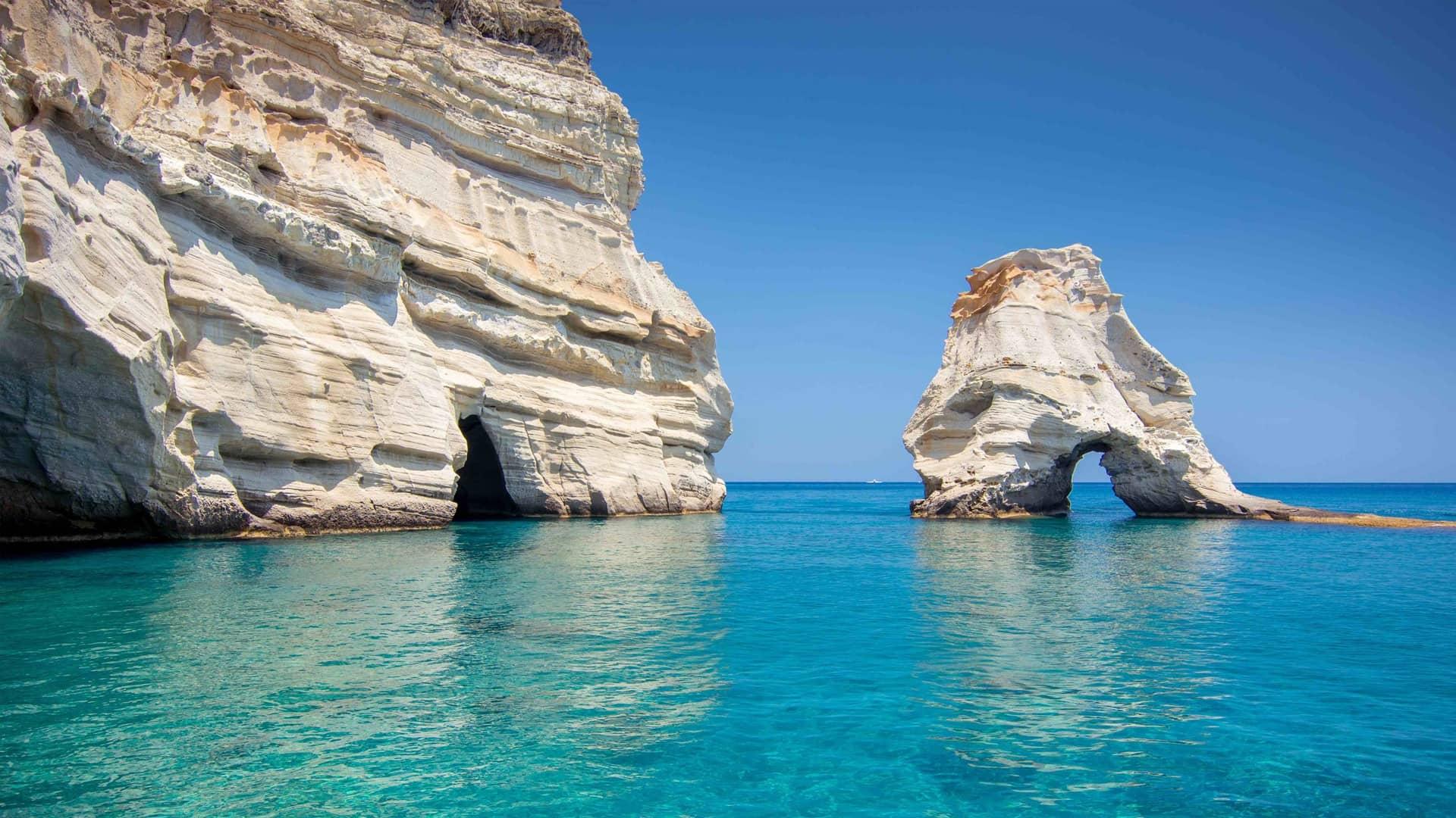 Typical Kaolin-rich rock formation in Milos