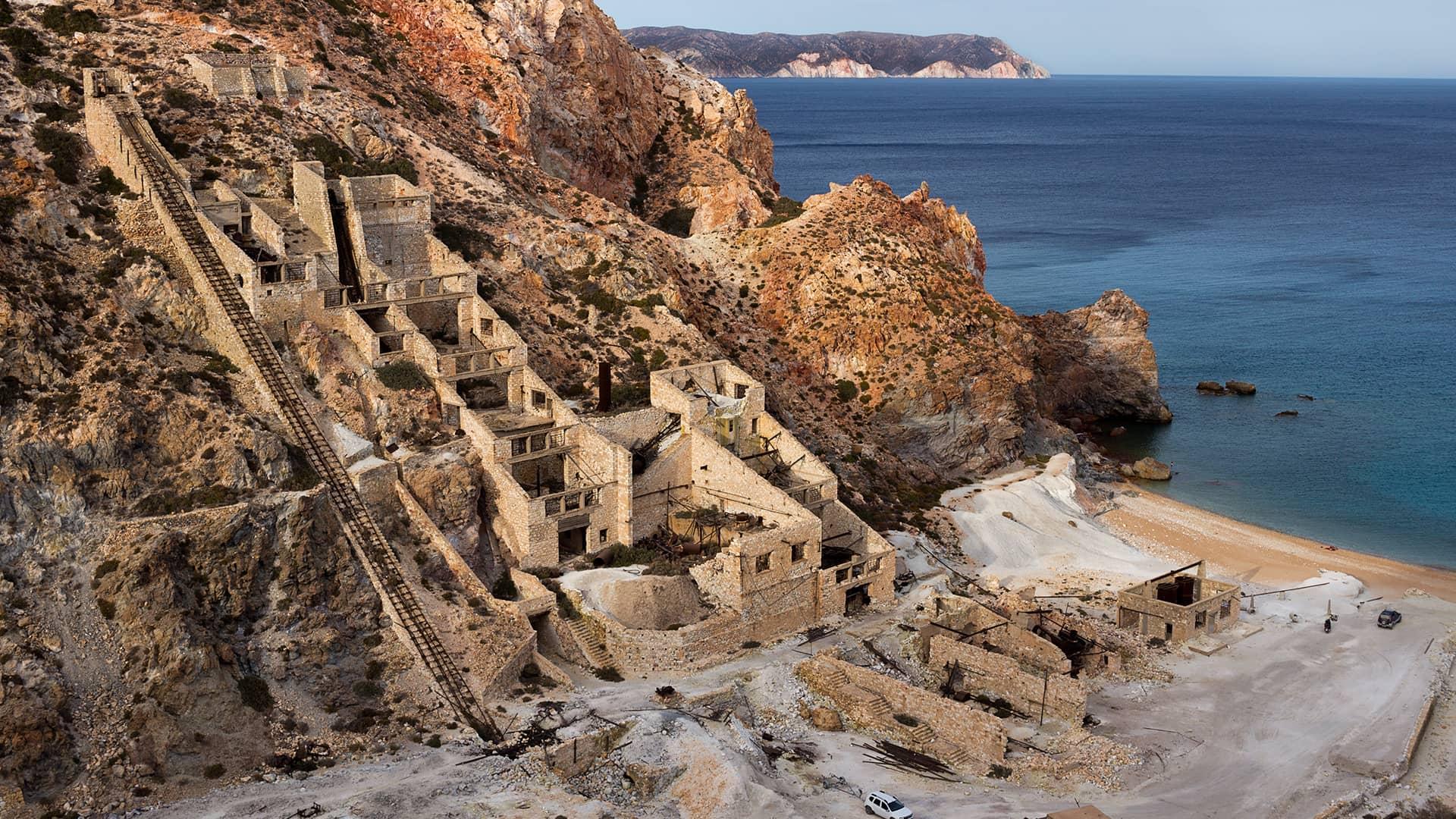 Milos old sulfur mines